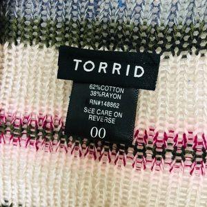 torrid Sweaters - Torrid Border Striped Open Front Draped Cardigan L